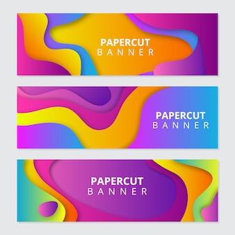 Kolorowe banery wycięte z papieru