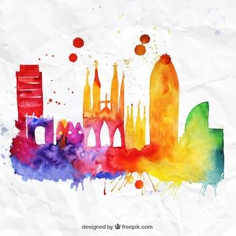 Kolorowe barcelona skyline