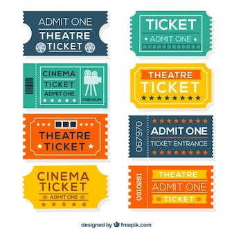 Kolorowe bilety do kina w płaskiej konstrukcji