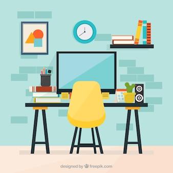 Kolorowe biuro z płaskim wzorem