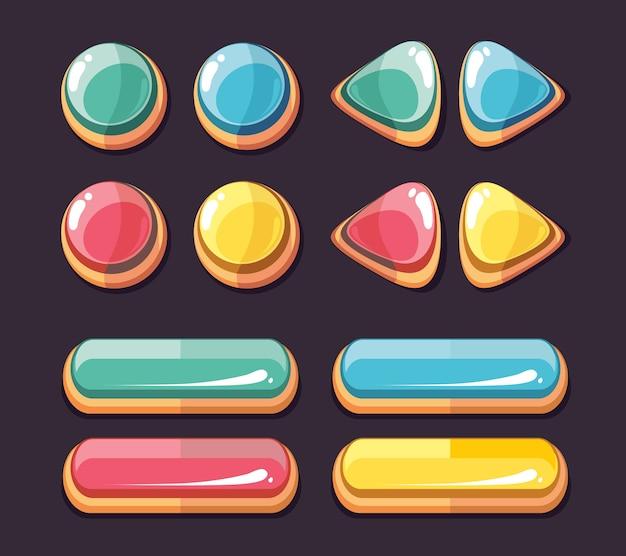 Kolorowe błyszczące guziki okrągłe i prostokątne. zestaw ikon dla interfejsu użytkownika gier komputerowych. wektor chory