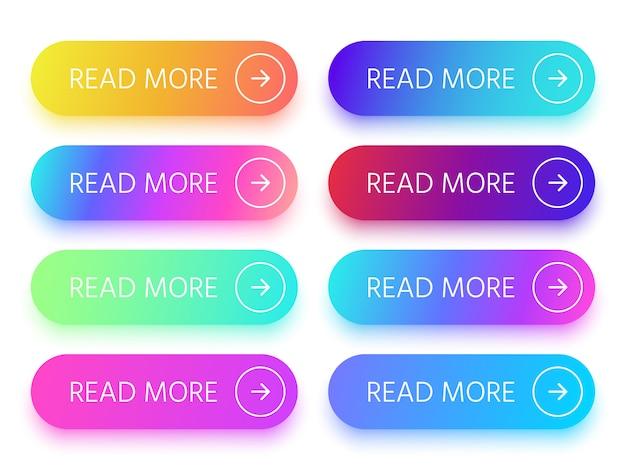 Kolorowe błyszczące przyciski na stronie z ikoną czytaj więcej i strzałką.