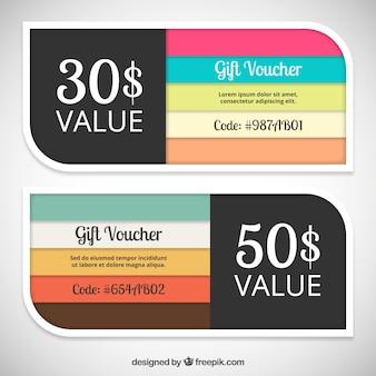 Kolorowe bony prezentowe szablony