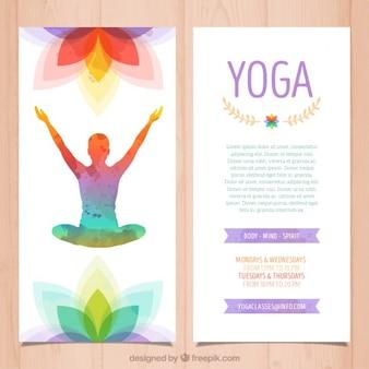 Kolorowe broszury jogi