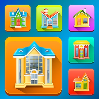 Kolorowe budynek ikony ilustracyjne