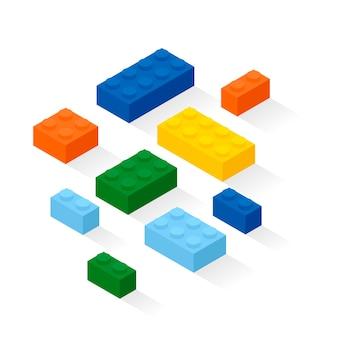 Kolorowe cegły ustawione. szczegóły zestawu konstrukcyjnego.