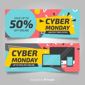 Kolorowe cyber poniedziałek banery z płaska konstrukcja