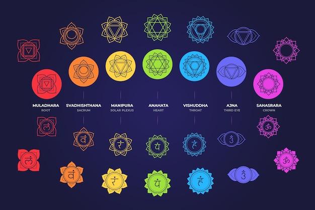 Kolorowe czakry zestaw koncepcji