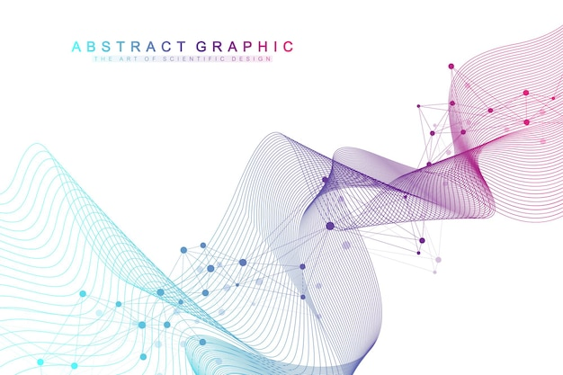 Kolorowe cząsteczki tła. spirala dna, nić dna, test dna. cząsteczka lub atom, neurony. abstrakcyjna struktura dla nauki lub tła medycznego, baner. naukowa ilustracja wektorowa molekularnej.