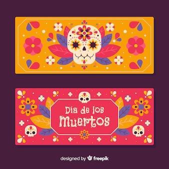 Kolorowe czaszki na płaskie banery día de muertos