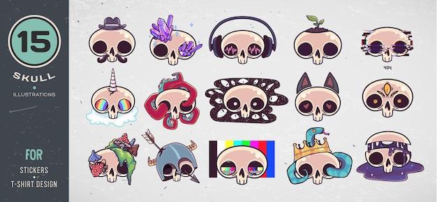 Kolorowe czaszki ustawione na projekt koszulki