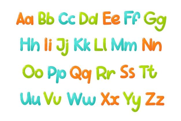 Kolorowe czcionki dla dzieci. błyszczący alfabet dla dzieci w stylu cartoon. typografia wektor dla projektu szkoły, przedszkola i przedszkola.