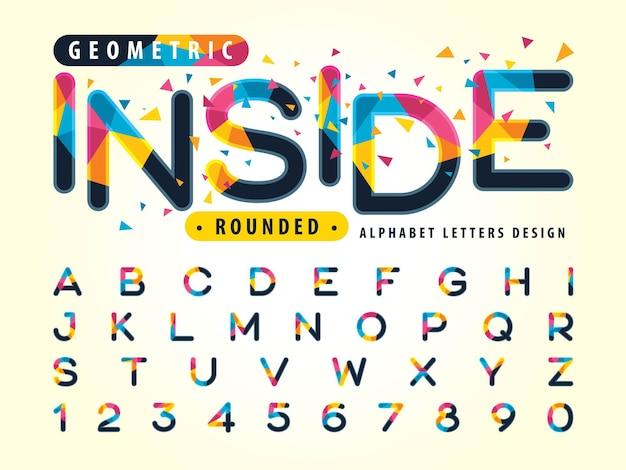Kolorowe czcionki trójkątów zaokrąglone litery alfabetu w stylu ustawione na święto mody