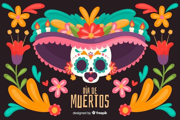 Kolorowe damy czaszki ręcznie rysowane tła día de muertos