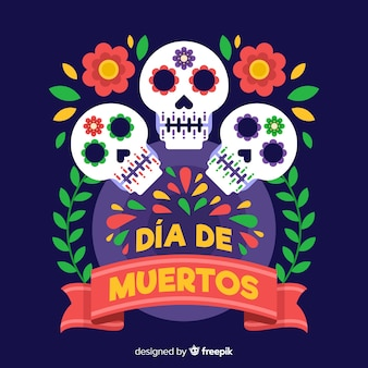 Kolorowe dia de muertos czaszki tło