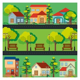 Kolorowe domy w tle
