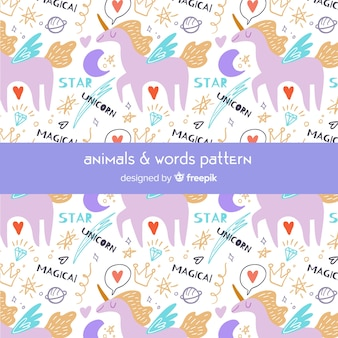 Kolorowe doodle jednorożce i wzór słowa