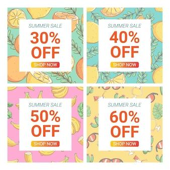 Kolorowe doodle letnie szablony bannerów promocyjnych