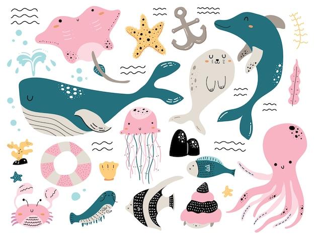 Kolorowe doodle zwierząt morskich