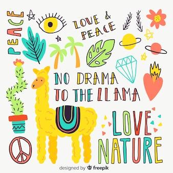 Kolorowe doodle zwierzęta i słowa wzór