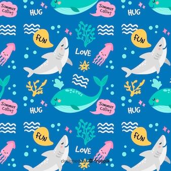 Kolorowe doodle zwierzęta morskie i słowa wzór