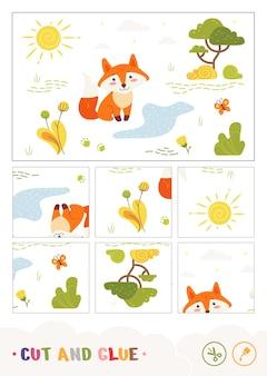 Kolorowe dzieciaki wycinają i przyklejają papierową grę z lisem siedzącym w pobliżu leśnego strumienia dzikie zwierzęta presc