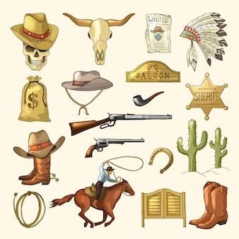 Kolorowe dzikie symbole zachodnie
