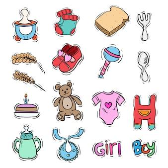 Kolorowe elementy dla dzieci ze sztuką doodle