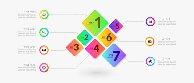 Kolorowe elementy infographic przepływu pracy, wykres procesu biznesowego z wielu kroków