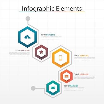 Kolorowe Elementy Sześciokątne Infografiki Premium Wektorów