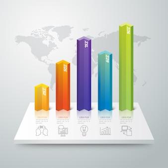 Kolorowe elementy wykresu słupkowego