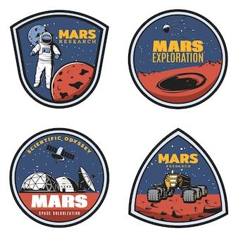 Kolorowe emblematy badań marsa w stylu vintage z astronautą