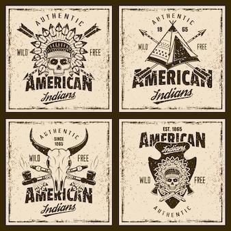 Kolorowe emblematy indian amerykańskich