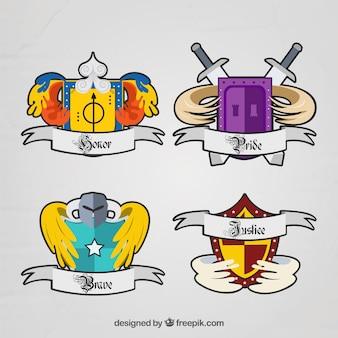 Kolorowe emblematy rycerzy