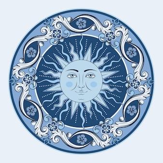 Kolorowe etniczne okrągłe mandale ozdobne. słońce z ludzką twarzą. orientalne arabeski wzór tła.