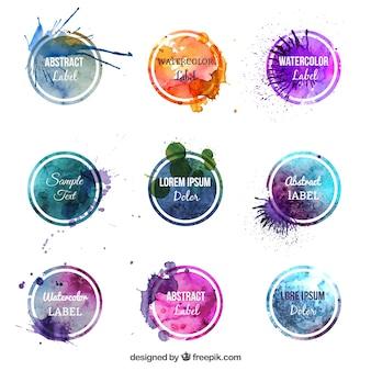 Kolorowe etykiety akwarelowe