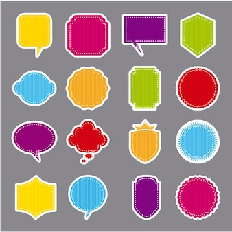 Kolorowe etykiety wektor na szarym tle