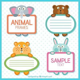 Kolorowe etykiety zwierzęta
