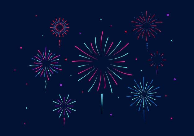 Kolorowe fajerwerki na białym tle. impreza, festiwal, święta, wielokolorowe niebo, ogień, gwiazdy eksplozji