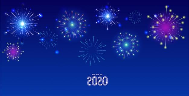 Kolorowe fajerwerki na nocnym niebie 2020 kartkę z życzeniami