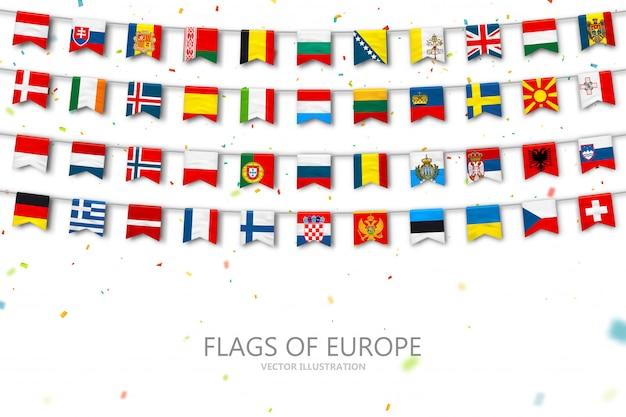 Kolorowe flagi krajów europy