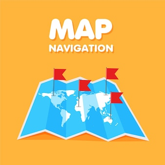 Kolorowe flagi na mapie podróży po świecie z kreskówek lokalizacja i punkty na mapie globalnej