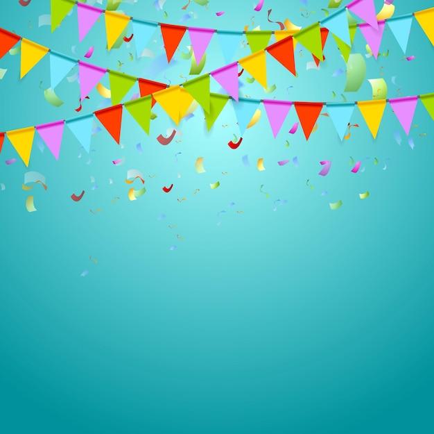 Kolorowe flagi partii świętować streszczenie tło z konfetti. projekt wektorowy