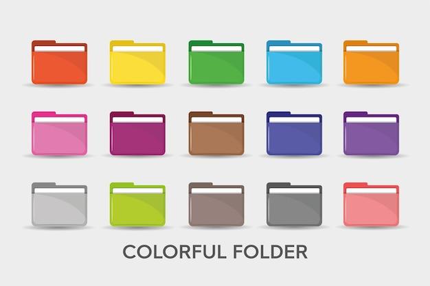 Kolorowe foldery ikona ilustracja prosty płaski.