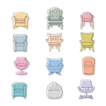 Kolorowe fotele wektor zestaw ikon na białym tle