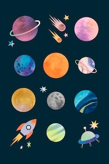 Kolorowe galaktyki akwarela doodle na czarnym tle wektora