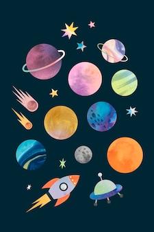 Kolorowe galaktyki akwarela doodle na tylnym wektorze tła