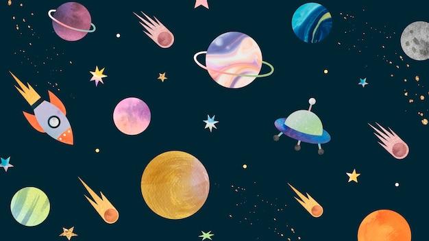 Kolorowe galaktyki doodle akwarela na czarnym tle
