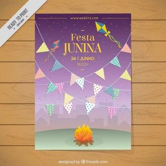 Kolorowe girlandy i ognisko festa junina zaproszenia