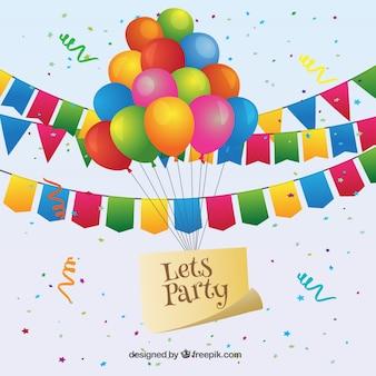 Kolorowe girlandy ustawione na urodziny